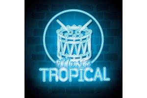 tropical music bar neon label