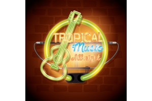 tropical music bar neon label
