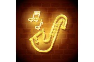 saxophone instrument neon label