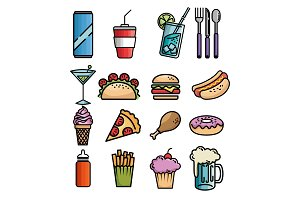 fast food set icons