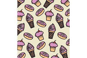 dessert products pattern background