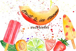 Watercolor fruit and ice cream