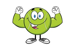 Happy Tennis Ball Character Flexing