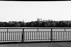 Dramatic black and white Moscow city quay background