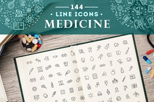 Line medicine concepts, Icons set