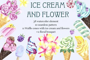 Ice cream and flower. Watercolor set