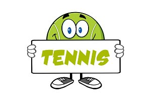 Tennis Ball Character Holding A Sign