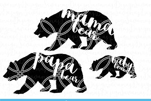 Mama Bear, Papa Bear & Baby Bear SVG