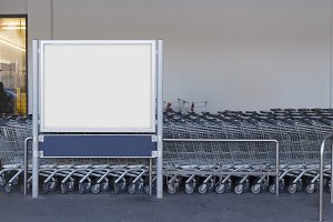 Blank billboard in a supermarket