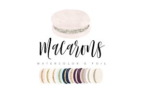 Chic Watercolor & Foil Macarons