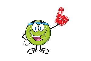 Happy Tennis Ball Mascot Character