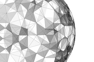 White sphere shape with connection lines for technology concept, 3d abstract illustration