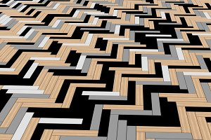 Black, white, and grey timber wood slats floor. Pattern background, 3d illustration
