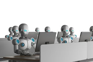 Group of robots using computers on white background. Artificial intelligence in futuristic technology concept, 3d illustration
