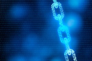 Blockchain digital illuminated shape with code. data node base technology concept. 3d illustration