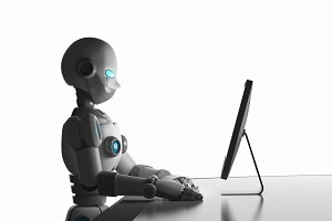 Robot using a computer isolated on white, artificial intelligence in futuristic technology concept, 3d illustration