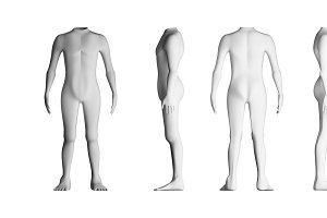 Human bodies with no head. Model on white background. Artificial intelligence concept, 3d illustration