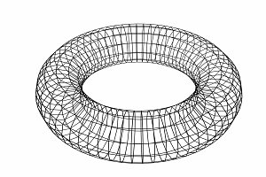 Abstract geometric shape. Wireframe object isolated on white background. Torus. 3d illustration.