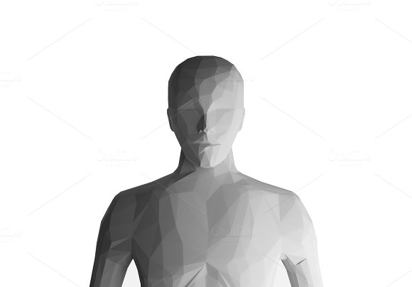 Human model on white background, artificial intelligence, 3d illustration
