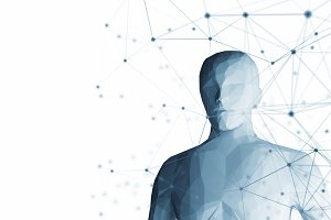 Human. Wireframe model with connection lines on white background, artificial intelligence in futuristic technology concept, 3d illustration
