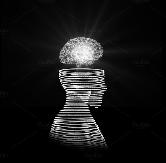 Human head with brain. Wireframe model on black, artificial intelligence in futuristic technology concept, 3d illustration