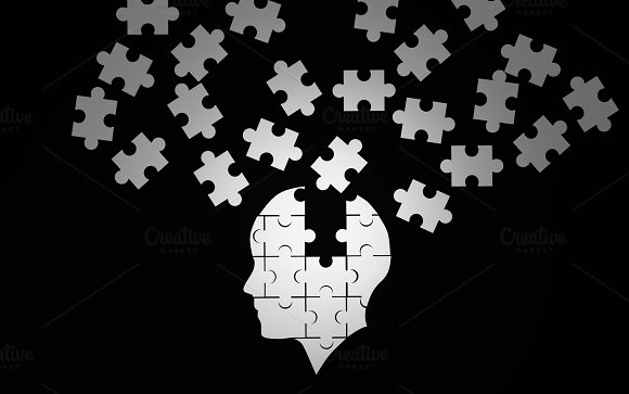 White jigsaw puzzle as a human brain on black. Concept for Alzheimer's disease. 3d illustration in Illustrations
