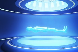 Human body in futuristic room. Digital health care, artificial intelligence concept. 3d illustration