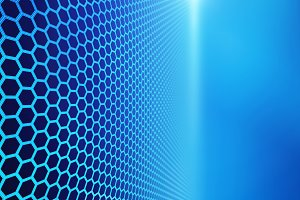 Panel of hexagons, technology abstract hexagons background with copy space, 3d illustration