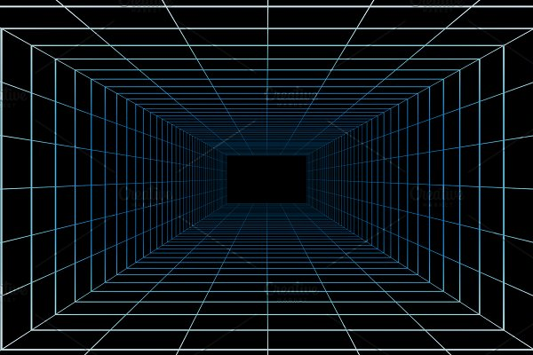 2300ad7b8ce9 Virtual cyberspace reality room on black background