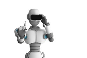 Robot wearing virtual reality glasses on white background. Artificial intelligence in futuristic technology concept, 3d illustration