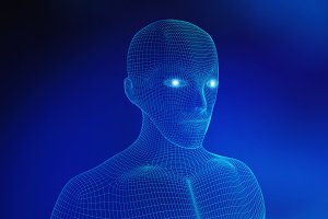 Human. Wireframe model with connection lines on blue background, artificial intelligence in futuristic technology concept, 3d illustration