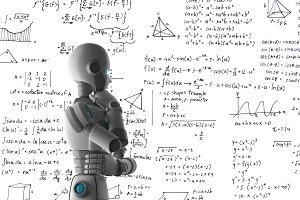 Robot learning or solving problems, artificial intelligence in futuristic technology concept, 3d illustration