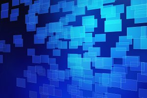 Dark blue abstract cubes in technology concept, 3d illustration background