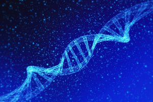 DNA, helix model in healthcare and medicine in technology concept on blue background, 3d illustration