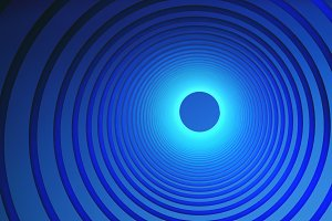 Abstract technology circles. Graphic design on blue background, 3d illustration