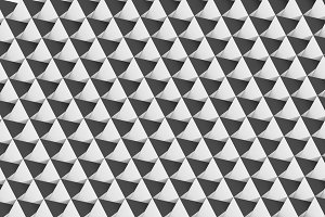 Abstract geometric triangle shape on white background, seamless pattern. 3d illustration