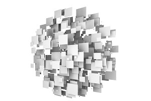 Abstract cubes shape a sphere on white background, 3d illustration