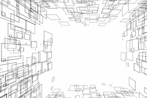 Abstract drawing lines in architectural art concept on white background, 3d illustration