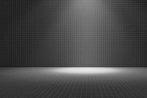 Black tile room with a spotlight, texture pattern background, 3d illustration
