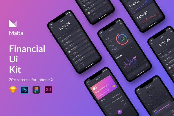 Website Templates: Shourav chy - Malta Financial IOS app UI Kit