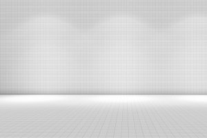 White tile room with lights, texture pattern background, 3d illustration