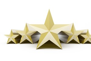 Five stars customer product rating review on white, 3d illustration.
