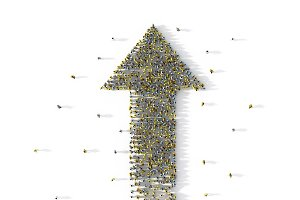 Large group of people forming a big arrow symbol on white, social media concept. 3d illustration