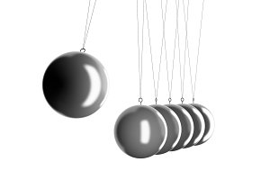 Newton's cradle physics in business concept. Pendulum isolated on white. 3d illustration