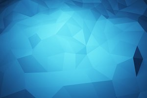Abstract triangle geometric, blue ice mountain shape on blue background, 3d illustration