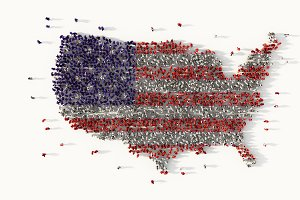 Large group of people forming The United States of America, social media concept. 3d illustration
