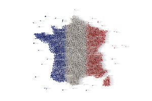 Large group of people forming France map concept. 3d illustration