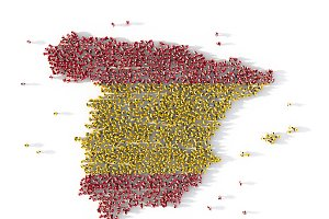 Large group of people forming Spain map concept. 3d illustration