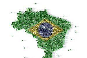 Large group of people forming Brazil map concept. 3d illustration