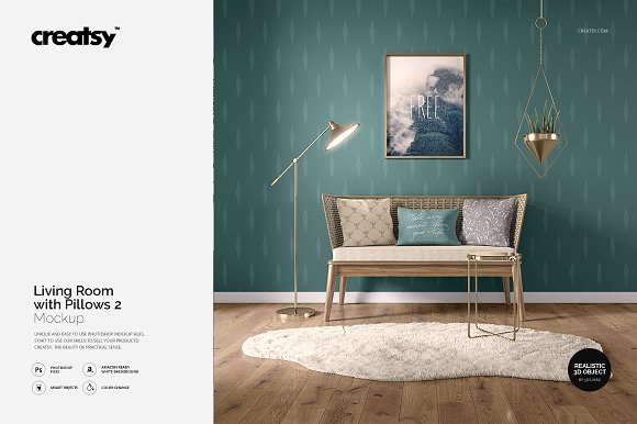 Free Living Room with Pillows Mockup 2